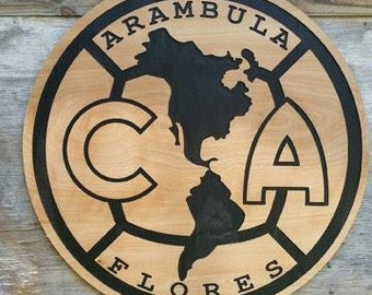 Club America Soccer Wooden Sign