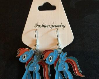 Silver Plated Blue My Little Pony Earrings