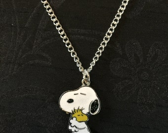 Silver Plated Snoopy Dog Hug Necklace