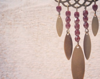 Brass earrings , faceted beads chocolate