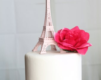 "6"" Baby Pink Paris Eiffel Tower Cake Topper, Madeline, France, Centerpiece, Parisina Decoration, overthetopcaketopper"