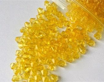 350 x Yellow Translucent Acrylic Bicone Beads Jewellery Making - 6mm
