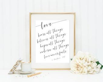 Valentine's Day 1 Corinthians 13 Print Digital Print Inspirational for her Scripture Print Christian Wall Art Wedding Print