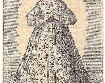 Virgin Mary & Little Angels Engraving Antique German Catholic Holy Prayer Card, Blessed Mother, Religious Ephemera