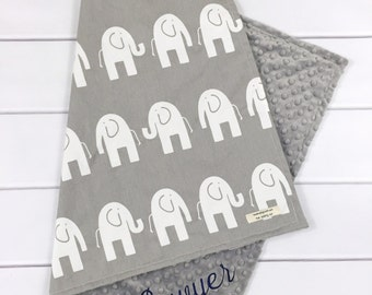 Elephant baby blanket - Personalized Baby Blankets - New baby gift - Baby Girl or Baby Boy Blanket - Baby Shower Gifts - Grey baby blanket