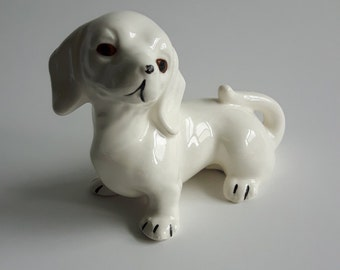 Vintage dog figurine, porcelain, made in japan, circa 1970, collectibles, home decor, ceramic, antique, bone china, canadian seller, white
