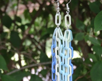 Creative and Playful Swinging Chain Earrings (Made from Colorful Plastic Links - Long, Light, and Dangly Earrings!)