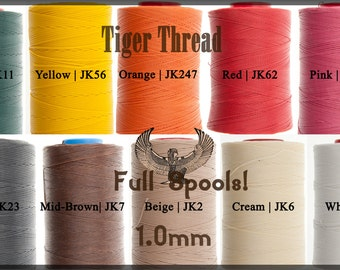 Tiger Thread 1.0mm - Wholesale - Full 500m Spools - Factory Sealed - Ritza 25 Waxed Polyester Thread - For Leather Hand Sewing