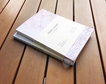 CUSTOM TITLE Journal, Pink Marble Design, Minimalist Notebook, Engagement Wedding Bridal Gift, Sister Girlfriend Present, Forever 21, Modern