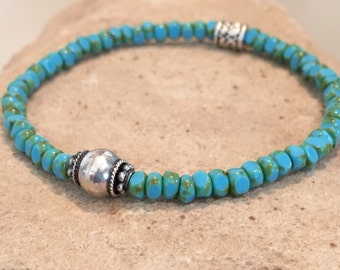 Turquoise bracelet, blue bracelet, Czech glass bead bracelet, sterling silver bracelet, stretch bracelet, elastic bracelet, boho bracelet