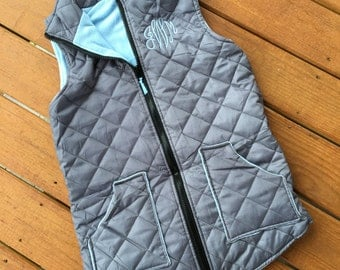 Diamond Quilted Legging Length Vest - GRAY w/ ARCTIC BLUE- Monogrammed Personalized Vest