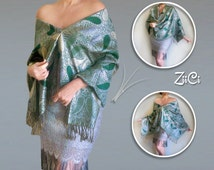 Metallic Green Shawl | Green And Silver Wedding Scarf | Green Pashmina Wrap | Fancy Evening Shawl | Plus Size Mother Of The Bride Dress Wrap