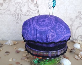 Cute Mason Jar Hijab Pin Cushion - Purple Paisley