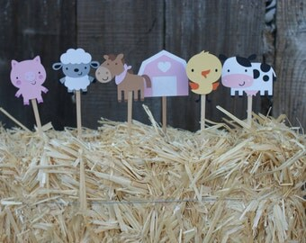 Farm Animal Cupcake Toppers, Farm Party Cupcake Toppers, Set of 12 Farm Animal Cupcake Toppers