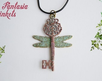 Flying Key - Vintage Skeleton Key with Iridescent Wings - Handpainted Pendant Necklace - Potterhead Jewelry