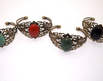 Antique Brass Cuff Bracelet, Gemstone Cuff Bracelets, Jade Cuff Bracelet, Jasper Cuff Bracelet, Onyx Cuff Bracelet, Antique Brass Jewelry