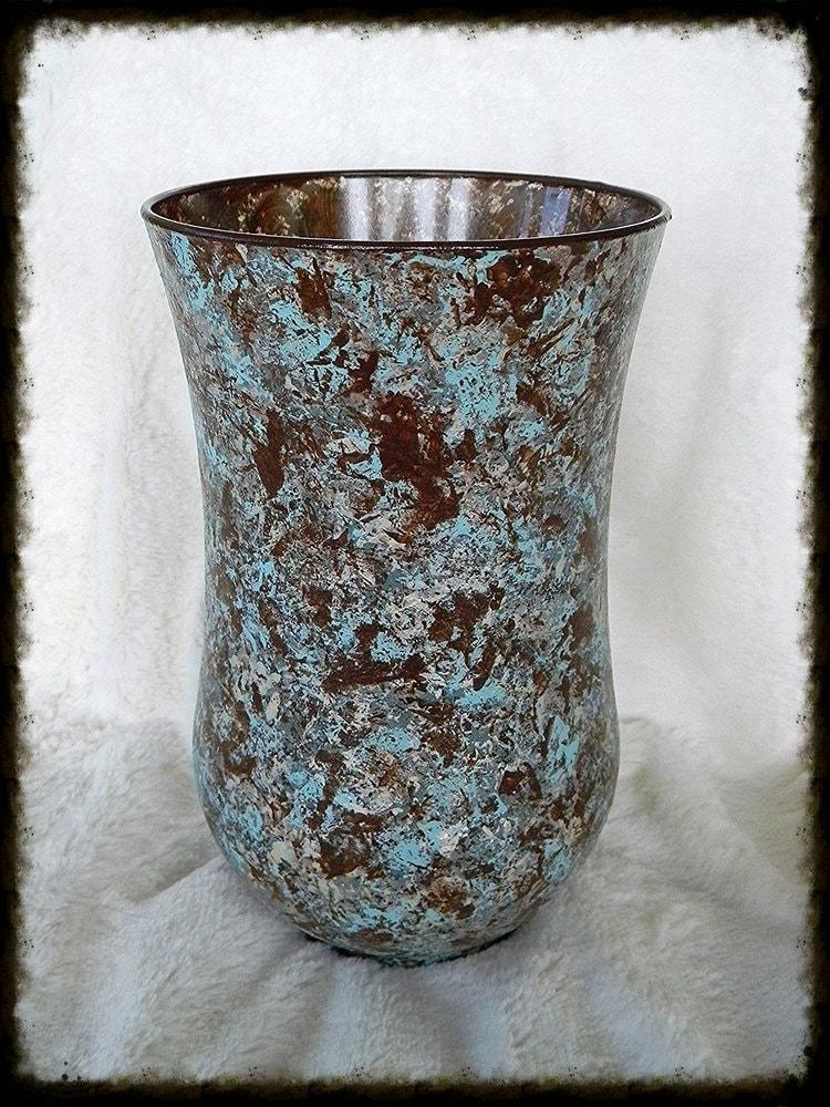 Large glass vase centerpiece housewarming gift pillar candle