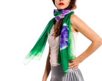 Hand painted silk scarf-Violet flowers in Permanent Green,Silk scarf, Painted scarves, Birthday gift for her,Woman silk scarf by Dimo-OOAK