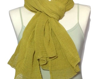 Cotton Scarf, Large Scarf, Yellow Scarf, Soft Scarf, Hand Made Scarves, Gift For Her, Unique Scarves, Scarves and Shawls, Hand Dyed,