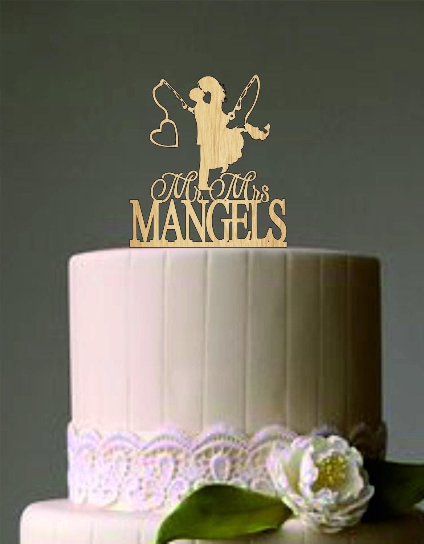 Wedding Couple Fishing Pole Heart Unique Wedding Cake Topper
