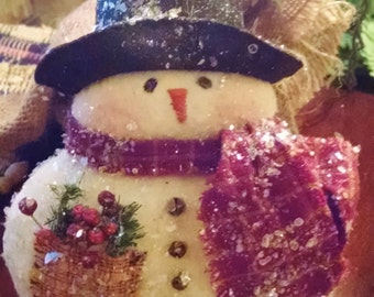 "Primitive Handmade ""Mr. Shivers"" Snowman"