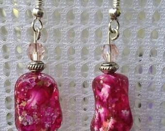 Handmade pink splash earrings