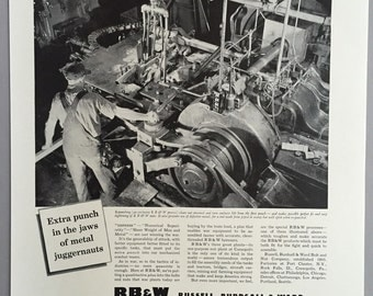 1942 Russell, Burdsall & Ward Print Ad for Bolts and Nuts - Wartime Manufacturing - World War II Era