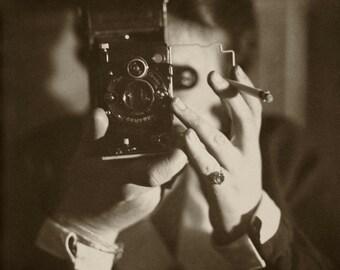 Vintage photo photographer selfie antique camera photograph 1920s photographer gift man smoking -PRINT