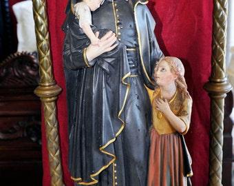 Stunning Antique Religious Statue St. Vincent de Paul in Chapel #5374