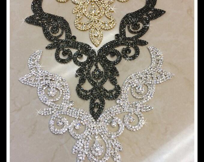 Rhinestone Necklace Applique/ Rhinestone Neckline Applique/ Bridal Applique/(Silver, Gold) ~ Swarovski Shine #0177