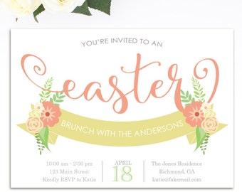 Easter Invitation, Easter Brunch Invitation, Easter Egg Hunt Invitation, Printable Invitation, Easter Birthday Invitation, Peach & Yellow