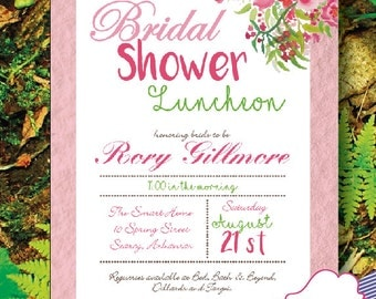 Bridal Shower Luncheon Floral Watercolor Lace Invitations