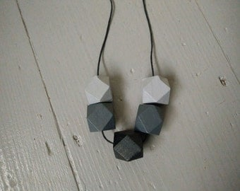 Geometric Necklace - Dark Grey, Black and Light Grey | Statement Necklace | Gift for her | Geometric Jewellery | Beaded necklace | Geo