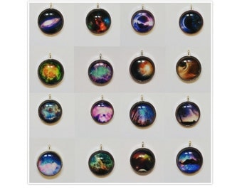 Various space image cosmic jewellery science pendant necklaces on silver plated chain (see further listings for other designs)