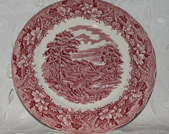 6 x Barratts Old Castle 1940s Red & White Side or Salad Plates