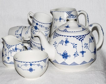 Denmark Design Masons and Furnivals Blue and White Tea Set - a Beautiful Set