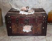 SALE Leather & Wood Trunk Wedding Card Box Bridal Keepsake Box Rustic Barn Wedding Vintage Style Brown Chest Lace Burlap Trim Ivory Peach