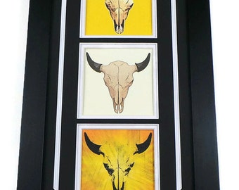Buffalo Skull Canvas Art Print In Picture Frame Bison Skull Triptych