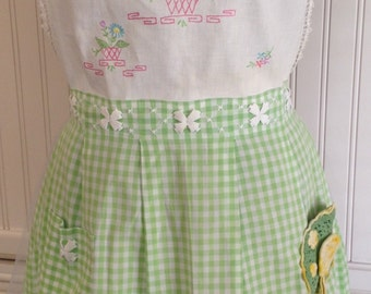 Vintage full apron green gingham cross stitched