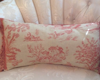 Pillow covers, toile print, salmon peach,  set of 3 pillow covers, lumbar size, toile print, salmon color fringed