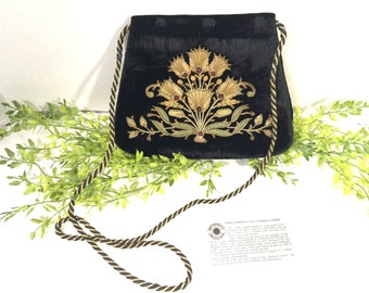 Vintage India  Smithsonian Reproduction Black Velvet Gold Embroidered Evening Bag Purse