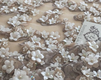 Luxury 3D brown lace fabric, hand made pearl beads 3D flowers, French Lace, gray Embroidered lace,  K00365
