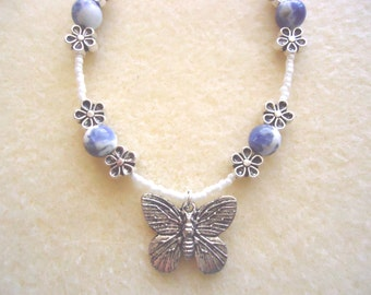 White & Blue Butterfly, Flower Charm Bracelet With Natural Sodalite, Silver