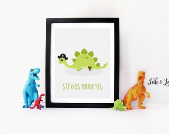 Dinosaur Print - Dinosaur Pun - Pirate Decor - Dinosaur Nursery - Dinosaur Playroom Decor - Instant Download - Digital Printable - 8x10