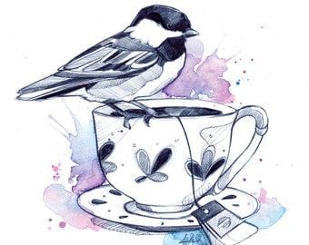 Tea Cup Birds (Print) | Bird | Drawing | Watercolor | Reproduction | Affiche | Art Deco | Tea Cup | Art | Handmade | Purple | Pink | Ink