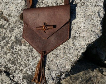 Leather Hip Pouch,Leather Hip Bag with Tassle, Small Leather Bag, LARP, SCA, Leather Belt Bag, Festival Bag
