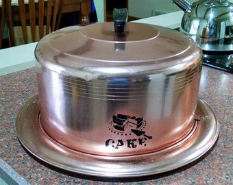 West Bend Cake Carrier / Cake Saver - Copper Colored Aluminum - Mid Century Metal Cake Plate with Cover - Vintage 1950s