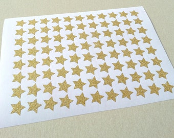 110 gold glitter star stickers, life planner stickers, gold Erin Condren planner stickers, Twinkle Twinkle Little Star large star stickers