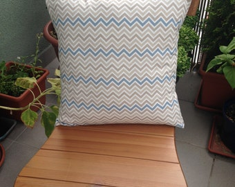Decorative Throw Pillow, Beige Blue Chevron, Cushion, Throw Pillow, Couch Bed Pillow
