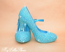 Shoes ~ Blue Ankle strap Heels ~ Wedding, Bridesmaid, Flower Girl, Sweet 16, Party, Evening Wear, Prom, Mother of the Bride